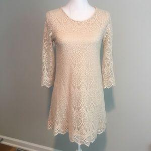 H&M crochet 3/4 length sleeve dress in cream